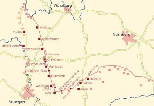 Karte des obergermanisch-raetischen Limes mit Kastellen